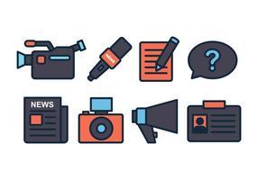 Set di icone giornalista vettore