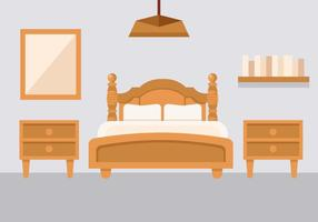 Camera da letto gratuita con comodino Vector