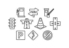 Linea icona del traffico stradale vettoriale