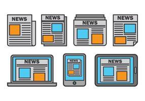 Set di icone di comunicato stampa vettore