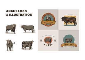 Logo e illustrazione di Angus gratis vettore