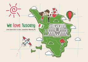 Illustrazione della mappa della Toscana vettore