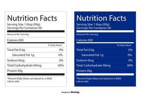 Valori nutrizionali Etichette modificabili vettore