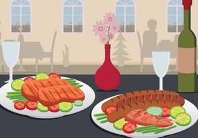Charcuterie sul piatto servito sull'illustrazione della Tabella vettore
