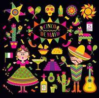 cinco de mayo con icone messicane vettore