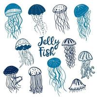 modello senza cuciture di meduse blu vettore