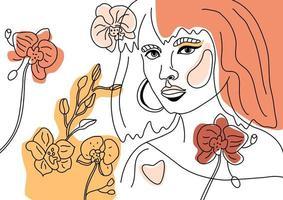 volto femminile, stile linea minimale