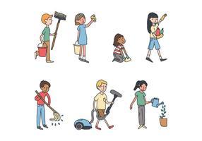 Bambini che puliscono la casa vettore