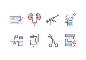 Urologia Set di icone vettore