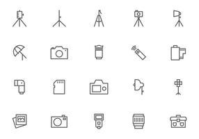 Vettori dell'attrezzatura della macchina fotografica e di fotografia