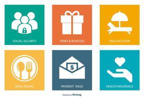Collezione di icone di benefici per l'occupazione