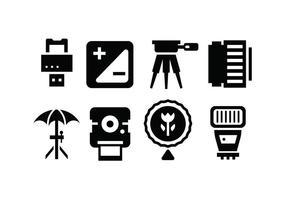 Icone accessorie della fotocamera vettore