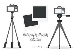 Treppiedi vettoriale con collezione di fotocamere