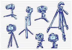 Stile di disegno schizzo fotocamera treppiede vettore