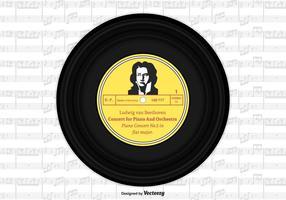 Beethoven Vinyl Single Record Disegno vettoriale
