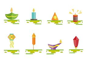 vettore delle icone del petardo di diwali