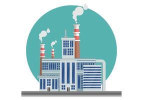Paesaggio industriale con l'illustrazione di vettore della pila di fumo