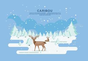 Illustrazione piana di vettore del caribù della neve