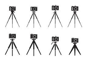 Silhouette di treppiede fotocamera vettore