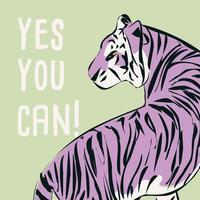 tigre disegnata a mano con frase e messaggio femministi