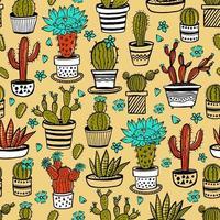insieme disegnato a mano di cactus e succulente vettore