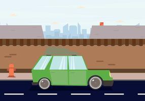station wagon parcheggiata in centro illustrazione vettore