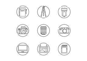 Fotografo Gear Icons vettore