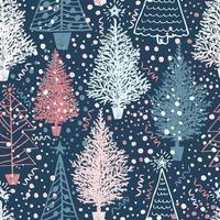 Seamless pattern di Natale con alberi di Natale vettore