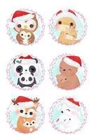mamma carina e cuccioli di animali per la decorazione natalizia