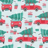 seamless con auto rosse e alberi di Natale vettore