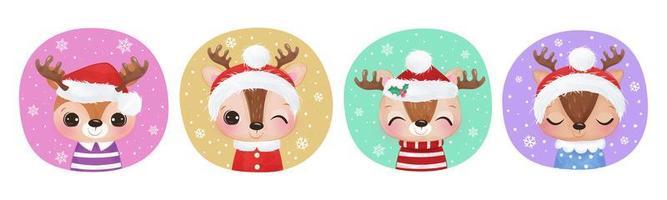 simpatica collezione di renne per decorazioni natalizie vettore