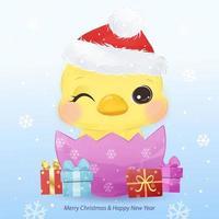 biglietto di auguri di Natale con adorabile pulcino vettore