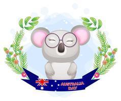 simpatico koala con ghirlanda floreale e banner del giorno dell'australia