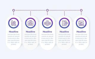 infografica aziendali, banner design con icone di linea vettore