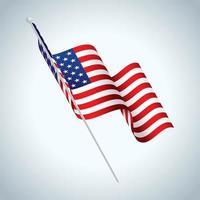 bandiera americana sul palo sventolando vettore