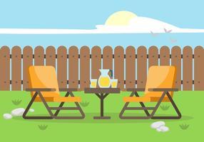 Cortile con illustrazione di sedie a sdraio