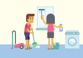 Illustrazione di pulizia domestica gratuita