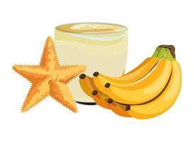frullato di banana e composizione di stelle marine