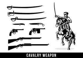 Silhouette di armi di cavalleria vettore