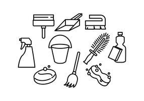 Vettore libero dell'icona della linea degli strumenti di pulizia