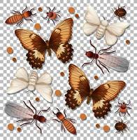 set di diversi insetti su sfondo trasparente vettore