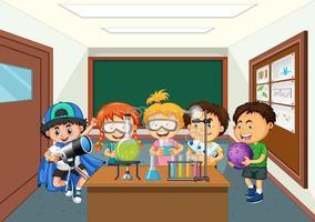 bambini che fanno esperimenti di laboratorio di scienze nella scena della classe