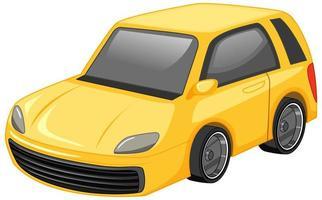 stile cartone animato auto gialla isolato su sfondo bianco