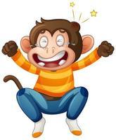 una scimmia carina che indossa il personaggio dei cartoni animati della maglietta isolato su priorità bassa bianca