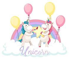 unicorno carino in piedi sulla nuvola con arcobaleno pastello isolato su sfondo bianco