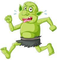 goblin verde o troll in esecuzione posa con faccia buffa nel personaggio dei cartoni animati isolato