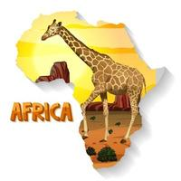 animale africano selvaggio sulla mappa vettore