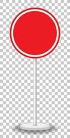 striscione traffico rosso vuoto su sfondo trasparente