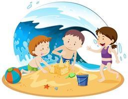 persone isolate in spiaggia vettore