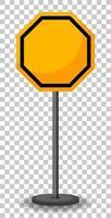 segno di traffico giallo vuoto su sfondo trasparente